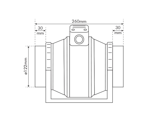 125mm Mixed Flow Fan Dimensions Drawing