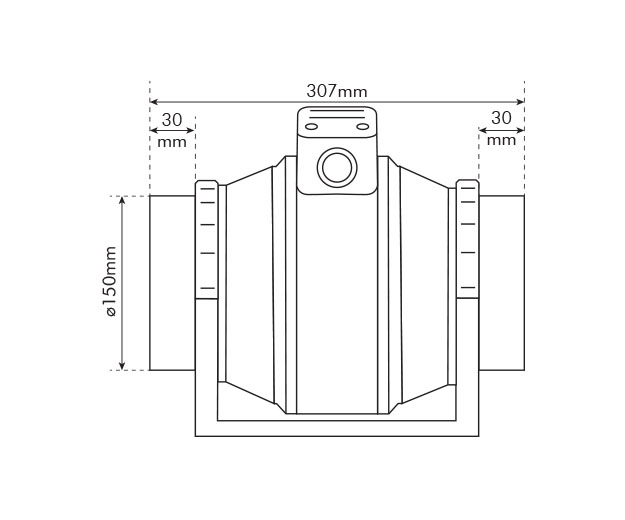 150mm Mixed Flow Fan Dimensions Drawing