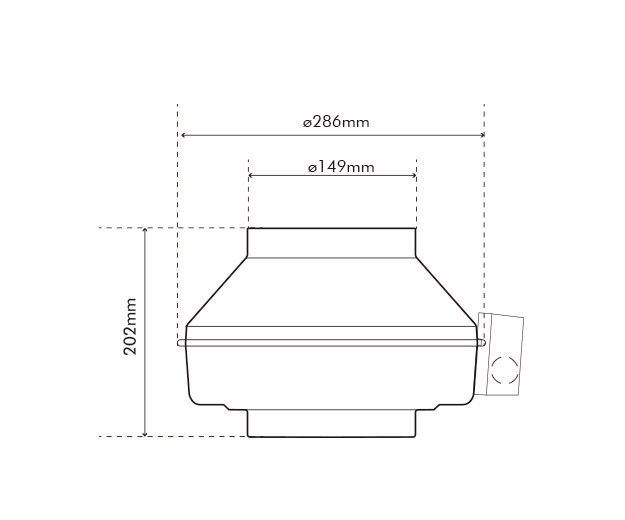 K 150 EC Fan Dimensions