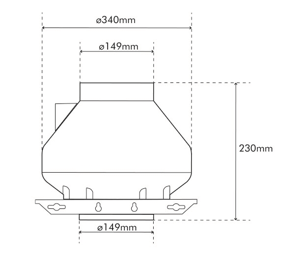 RVK 150 L1 Fan Dimensions Drawing