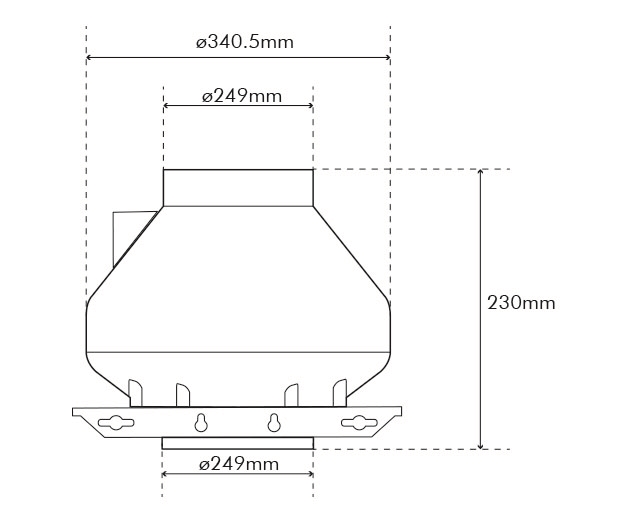 RVK 250 L1 Fan Dimensions Drawing